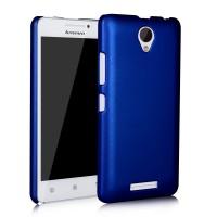 Пластиковый матовый металлик чехол для Lenovo A5000 Синий
