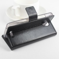 Чехол флип подставка на силиконовой основе с магнитной защелкой для Lenovo A5000 Черный