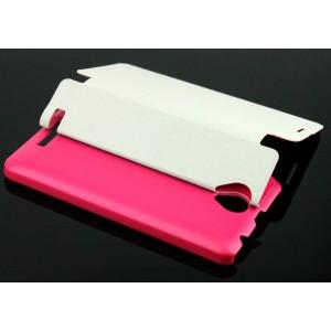 Чехол флип подставка на пластиковой основе для Lenovo A5000 Пурпурный