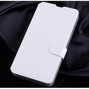Текстурный чехол портмоне подставка на пластиковой основе с магнитной защелкой для Microsoft Lumia 640 Белый
