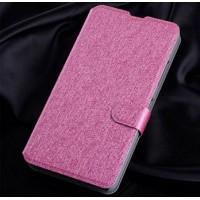 Текстурный чехол портмоне подставка на пластиковой основе с магнитной защелкой для Microsoft Lumia 640 Розовый