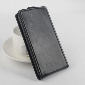 Чехол вертикальная книжка на силиконовой основе с магнитной застежкой для Microsoft Lumia 540 Черный