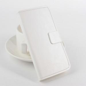 Чехол портмоне подставка с защелкой на силиконовой основе для Microsoft Lumia 540 Белый