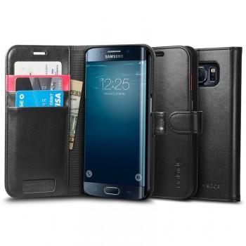 Кожаный чехол портмоне подставка на поликарбонатной основе с реверсивной магнитной защелкой для Samsung Galaxy S6 Edge