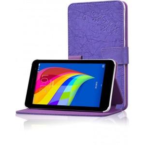 Чехол подставка на поликарбонатной основе с декоративным тиснением для Huawei MediaPad T1 7.0/T2 7.0 Фиолетовый