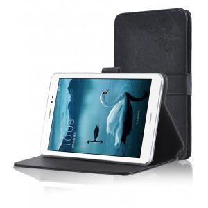 Чехол подставка на поликарбонатной основе с декоративным тиснением для Huawei MediaPad T1 8.0 Черный