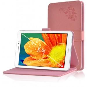 Чехол подставка на поликарбонатной основе с декоративным тиснением для Huawei MediaPad T1 8.0 Розовый