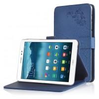 Чехол подставка на поликарбонатной основе с декоративным тиснением для Huawei MediaPad T1 8.0 Синий