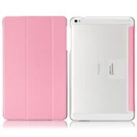 Чехол флип подставка сегментарный на транспарентной поликарбонатной основе для Huawei MediaPad T1 10.0 Розовый