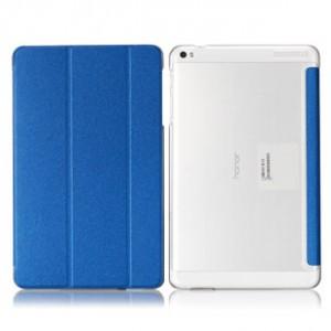 Чехол флип подставка сегментарный на транспарентной поликарбонатной основе для Huawei MediaPad T1 10.0 Синий