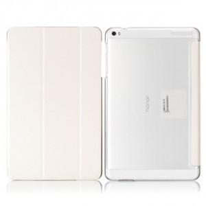 Чехол флип подставка сегментарный на транспарентной поликарбонатной основе для Huawei MediaPad T1 10.0 Белый