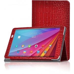 Чехол подставка с рамочной защитой серия Croco Pattern для Huawei MediaPad T1 10.0 Красный