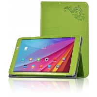 Чехол подставка с рамочной защитой и декоративным тиснением для Huawei MediaPad T1 10.0 Зеленый