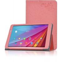 Чехол подставка с рамочной защитой и декоративным тиснением для Huawei MediaPad T1 10.0 Розовый