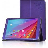 Чехол подставка с рамочной защитой и декоративным тиснением для Huawei MediaPad T1 10.0 Фиолетовый