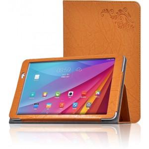Чехол подставка с рамочной защитой и декоративным тиснением для Huawei MediaPad T1 10.0 Оранжевый