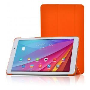 Полиуретановый чехол флип подставка сегментарный на пластиковой основе для Huawei MediaPad T1 10.0 Оранжевый
