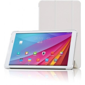 Полиуретановый чехол флип подставка сегментарный на пластиковой основе для Huawei MediaPad T1 10.0 Белый