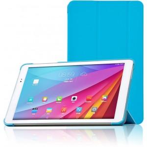 Полиуретановый чехол флип подставка сегментарный на пластиковой основе для Huawei MediaPad T1 10.0 Голубой