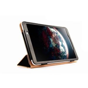 Кожаный сегментарный чехол подставка (нат. кожа) с рамочной защитой экрана для Huawei MediaPad T1 10.0