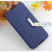 Текстурный чехол портмоне подставка на силиконовой основе с дизайнерской защелкой для Alcatel One Touch Idol 3 (5.5) Синий