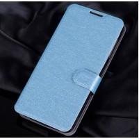 Текстурный чехол портмоне подставка на силиконовой основе с магнитной защелкой для Alcatel One Touch Idol 3 (4.7) Голубой