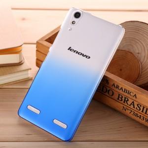 Пластиковый градиентный полупрозрачный чехол для Lenovo A6000 Синий