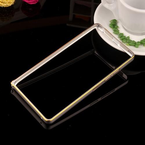 Металлический двухцветный бампер с золотой окантовкой для Lenovo A6000