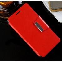 Чехол портмоне подставка на силиконовой основе с дизайнерской защелкой для Lenovo A6000 Красный
