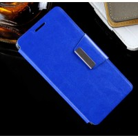 Чехол портмоне подставка на силиконовой основе с дизайнерской защелкой для Lenovo A6000 Синий