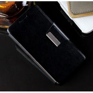 Чехол портмоне подставка на силиконовой основе с дизайнерской защелкой для Lenovo A6000 Черный