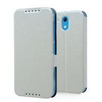 Текстурный чехол флип подставка на пластиковой основе с магнитной защелкой для HTC Desire 526 Белый