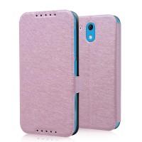 Текстурный чехол флип подставка на пластиковой основе с магнитной защелкой для HTC Desire 526 Розовый