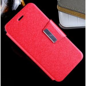 Текстурный чехол флип подставка на силиконовой основе с дизайнерской защелкой для ASUS Padfone S Красный