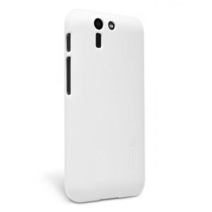 Пластиковый матовый нескользящий премиум чехол для ASUS Padfone S Белый