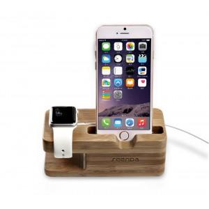 Натуральная безугловая деревянная подставка для одновременной настольной зарядки Apple Watch и iPhone
