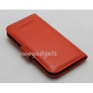 Чехол портмоне (нат. кожа) для Fly IQ4403 Energie 3 Оранжевый