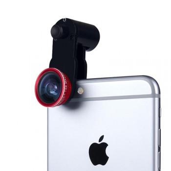 Набор внешних линз из 3 шт (Макросъемка, fish eye, широкоугольная съемка) на клипсе с возвратной пружиной улучшенного крепления (только для гаджетов толщиной до 9.9 мм)