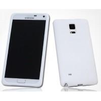 Силиконовый матовый софт-тач премиум чехол для Samsung Galaxy Note 4 Белый