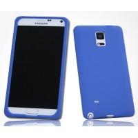 Силиконовый матовый софт-тач премиум чехол для Samsung Galaxy Note 4 Синий