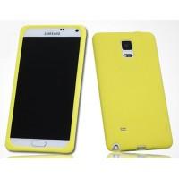 Силиконовый матовый софт-тач премиум чехол для Samsung Galaxy Note 4 Желтый