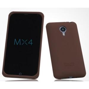 Силиконовый матовый софт-тач премиум чехол для Meizu MX4 Коричневый