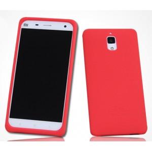 Силиконовый матовый софт-тач премиум чехол для Xiaomi Mi4 Красный