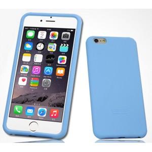 Силиконовый матовый софт-тач премиум чехол для Iphone 6 Plus Голубой