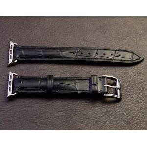 Кожаный крокодиловый ремешок с металлическим коннектором для Apple Watch 42мм Черный
