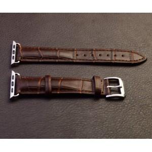 Кожаный крокодиловый ремешок с металлическим коннектором для Apple Watch 42мм Коричневый