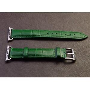 Кожаный крокодиловый ремешок с металлическим коннектором для Apple Watch 42мм Зеленый