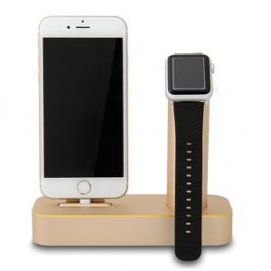 Металлическая подставка из авиационного алюминия для одновременной зарядки Apple Watch и iPhone