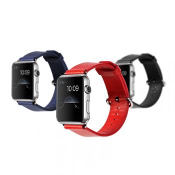 Кожаный гладкий ремешок с металлическим коннектором для Apple Watch 42мм