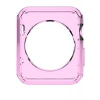Силиконовый полупрозрачный чехол для Apple Watch 42мм Розовый